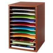 Desktop Sorter, Vertical, 11 Compartment, Cherry, 10-3/4''W x 12''D x 16''H