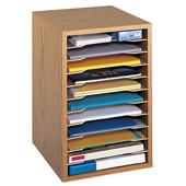 Desktop Sorter, Vertical, 11 Compartment, Medium Oak, 10-3/4''W x 12''D x 16''H