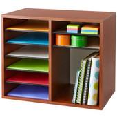 Wood Adjustable Literature Organizer, 12 Compartment, Cherry, 19-1/2''W x 12''D x 16''H