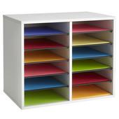 Wood Adjustable Literature Organizer, 12 Compartment, Gray, 19-1/2''W x 12''D x 16''H