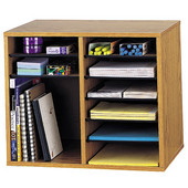 Wood Adjustable Literature Organizer, 12 Compartment, Medium Oak, 19-1/2''W x 12''D x 16''H