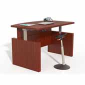 Aberdeen® Height-Adjustable Bow Front Desk with Base, Cherry TF Laminate, 66''W x 42''D x 29-1/2'' to 47-3/4''H