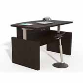 Aberdeen® Height-Adjustable Bow Front Desk with Base, Mocha TF Laminate, 66''W x 42''D x 29-1/2'' to 47-3/4''H