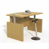 Aberdeen® Height-Adjustable Bow Front Desk with Base, Maple TF Laminate, 72''W x 42''D x 29-1/2'' to 47-3/4''H