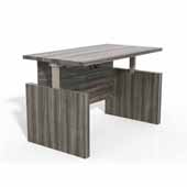 Aberdeen® Height-Adjustable Desk, Conference Front Top & Base, Gray Steel TF Laminate, 72''W x 36''D x 29-1/2'' to 49-1/4''H