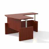 Aberdeen® Height-Adjustable Desk, Bowfront with Return, Cherry TF Laminate, 72''W x 42''D x 29-1/2'' to 49-1/4''H