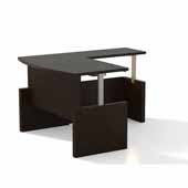 Aberdeen® Height-Adjustable Desk, Bowfront with Return, Mocha TF Laminate, 72''W x 42''D x 29-1/2'' to 49-1/4''H