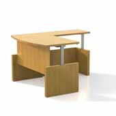 Aberdeen® Height-Adjustable Desk, Bowfront with Return, Maple TF Laminate, 72''W x 42''D x 29-1/2'' to 49-1/4''H