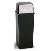 ® 21-Gallon Push Top Trash Can, 14'' W x 14'' D x 37-1/2'' H, Black / Chrome