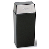 ® 36-Gallon Push Top Trash Can, 14'' W x 14'' D x 37-1/2'' H, Black / Chrome