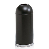 ® 15-Gallon Open Dome Top Trash Can w/ Steel Liner, 34'' H x 15'' Dia., Black
