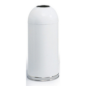 ® 15-Gallon Open Dome Top Trash Can w/ Steel Liner, 34'' H x 15'' Dia., White