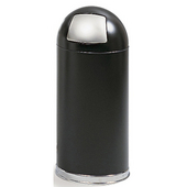 ® 15-Gallon Dome Top Trash Can w/ Push Door & Steel Liner, 34'' H x 15'' Dia., Black