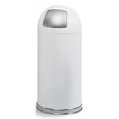 ® 15-Gallon Dome Top Trash Can w/ Push Door & Steel Liner, 34'' H x 15'' Dia., White