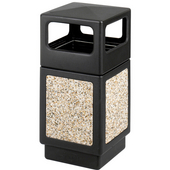 ® CanMeleon™ 38-Gallon Side Opening Outdoor Trash Can, 18-1/4'' W x 18-1/4'' D x 31-2/4'' H, Black/ Stone