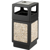 ® CanMeleon™ 38-Gallon Side Opening Outdoor Trash Can w/ Urn, 18-1/4'' W x 18-1/4'' D x 39-1/4'' H, Black/Stone