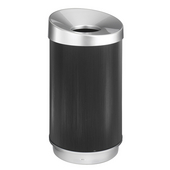 ® 38-Gallon At-Your-Disposal™ Vertex Trash Can, 36'' H x 20'' Dia., Black / Chrome