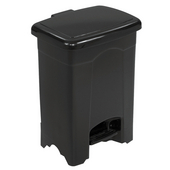 � 4-Gallon Plastic Step On Trash Can, 12-1/4'' W x 15'' H, Black