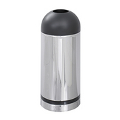 - 15-Gallon Open Top Dome Receptacle, Chrome/Black Top