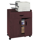 Deluxe Wood Mobile Refreshment/Machine Cart, 30'' W x 20-1/2'' D x 36-1/4'' H, Mahogany