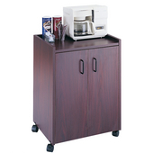 Wood Mobile Refreshment Center/Machine Cart, 23'' W x 18'' D x 31'' H, Mahogany