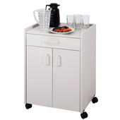 Wood Mobile Refreshment Center/Machine Cart w/ Drawer, 23'' W x 18'' D x 31'' H, Gray