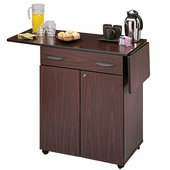 Wood Hospitality Service Kitchen Cart w/ Drop Leaves, 32-1/2'' to 56-1/4'' W x 20-1/2'' D x 38-3/4'' H, Mahogany