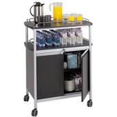Steel Mobile Beverage Kitchen Cart, 33-1/2'' W x 21-3/4'' D x 43'' H, Black