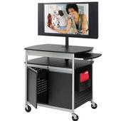 Scoot Flat Panel Multimedia Cart with Doors, 39-1/2'' W x 27'' D x 37-1/4'' H, Black