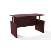 Medina™ Height-Adjustable Straight Front Desk, Mahogany Laminate, 72''W x 36''D x 29-1/2'' to 47-1/4''H