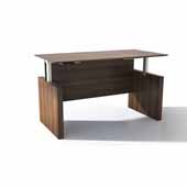 Medina™ Height-Adjustable Straight Front Desk, Textured Brown Sugar Laminate, 63''W x 36''D x 29-1/2'' to 47-1/4''H