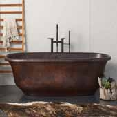 Santorini Copper Bathtub in Antique Copper, 66''W x 32-1/2''D x 24''H