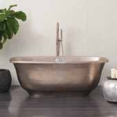 Santorini Copper Bathtub in Brushed Nickel, 66''W x 32-1/2''D x 24''H
