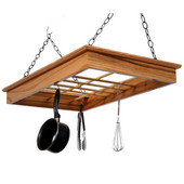 Solid Red Oak Wall Mounted Pot n Pan Rack with Large Shelf