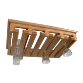 Solid Oak Intimate Ceiling/Wall/Under Cabinet Mount Hanging Stemware Rack, 12+ Glass Capacity, 22'' W x 14'' D x 3-1/2'' H, Red Oak
