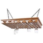 Solid Oak Hanging Stemware Rack, 24+ Glass Capacity, 33'' W x 20'' D x 3-1/2'' H, Red Oak