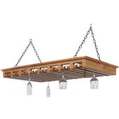 Large Solid Oak Hanging Stemware Rack, 40+ Glass Capacity, 43'' W x 24'' D x 3-1/2'' H, Red Oak