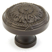 Versailles Collection 1-1/4'' Diameter Round Cabinet Knob in Oil Rubbed Bronze, 1-1/4'' Diameter x 1'' D x 1/2'' Base Diameter