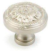 Versailles Collection 1-1/4'' Diameter Round Cabinet Knob in Satin Nickel, 1-1/4'' Diameter x 1'' D x 1/2'' Base Diameter