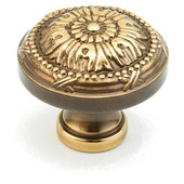 Versailles Collection 1-1/4'' Diameter Round Cabinet Knob in Antique Light Polish, 1-1/4'' Diameter x 1'' D x 1/2'' Base Diameter