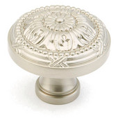 Versailles Collection 1-1/2'' Diameter Round Cabinet Knob in Satin Nickel, 1-1/2'' Diameter x 1-1/4'' D x 5/8'' Base Diameter