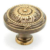 Versailles Collection 1-1/2'' Diameter Round Cabinet Knob in Antique Light Polish, 1-1/2'' Diameter x 1-1/4'' D x 5/8'' Base Diameter