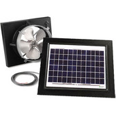 Solar Dynamics 1275 CFM, Gable Mount Solar Powered Attic Ventilator, White Panel (Super Cyclone), Black Finish