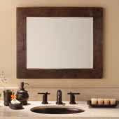 Large Sedona Rectangle Mirror in Antique Copper, 30''W x 1''D x 36''H