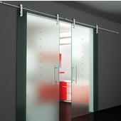 Flux Series Double Sliding Door Wall/Surface Mount, Brushed Stainless