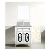 30'' W Modern Solid Wood Framed Bathroom Vanity Base Cabinet With Plywood Interior, Mdf Glass Doors With Self Soft Closing Hinges And Drawer In Beige White