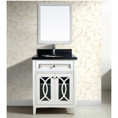 31'' W Modern Bathroom Vanity Set ; Counter Top, Sink Cabinet & Mirror In Beige White Cabinet With Black Top