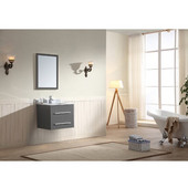 24'' Wide Single Vanity Set; Counter Top, Backsplash, Cabinet, & Mirror, Wall Mount Cabinet w/ Carrara White Marble Top, Dark Grey Finish, 24''W x 20-1/4''D x 21-1/2''H
