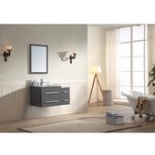 Gloria Series 36-13/16'' Wide Single Vanity Set (Counter Top, Backsplash, Cabinet, Linen Cabinet, Linen Counter Top & Mirror, Wall Mount Dark Grey Cabinet w/ Carrara White Marble Top) Dark Grey Finish