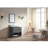Gloria Series 36-13/16'' Wide Single Vanity Set (Counter Top, Backsplash, Cabinet, Cabinet Base & Mirror, Freestanding Cabinet w/ Carrara White Marble Top) Dark Grey Finish